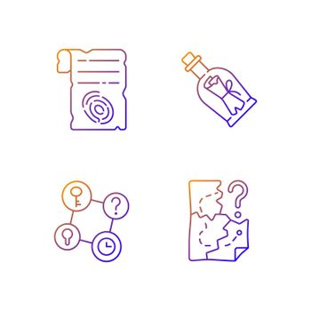 Mystery quest gradient linear vector icons set
