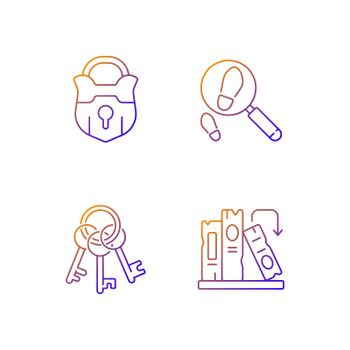 Solving mystery gradient linear vector icons set