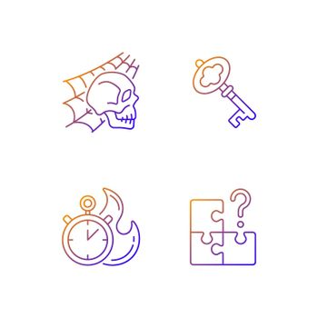 Quest room gradient linear vector icons set