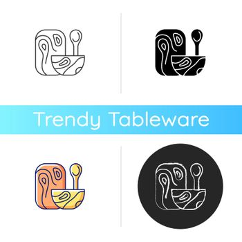 Wooden tableware icon