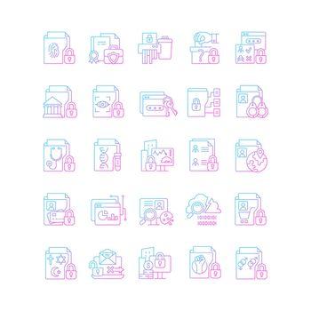 Sensitive information types gradient linear vector icons set