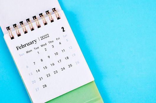 Close up February calendar 2022.