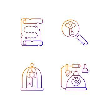 Solving quest gradient linear vector icons set