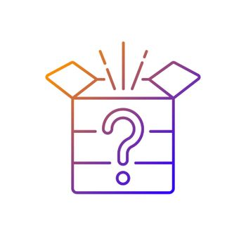 Mystery box gradient linear vector icon