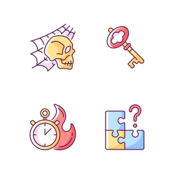 Quest room RGB color icons set