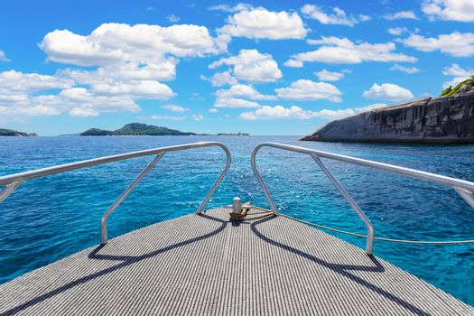 Scenic of prow boat over the sea of Similan Islands, Andaman Sea