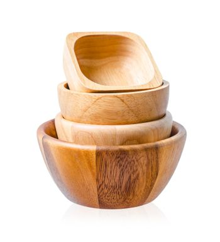 Empty wooden bowl overlap isolated on white background.
