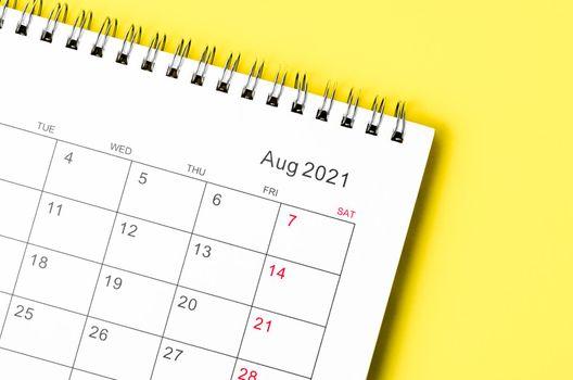Close up August 2021 desk calendar