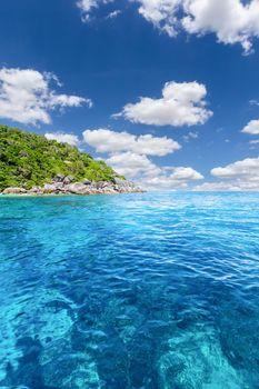 Turquoise water of Andaman Sea at Similan Islands, Phang-Nga, Thailand,