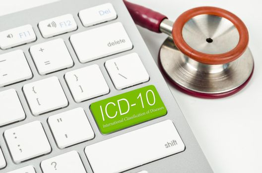 International Classification of Diseases and Related Health Problem 10th Revision or ICD-10 and stethoscope medical.