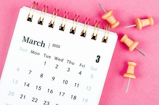 February calendar 2022 on pink.