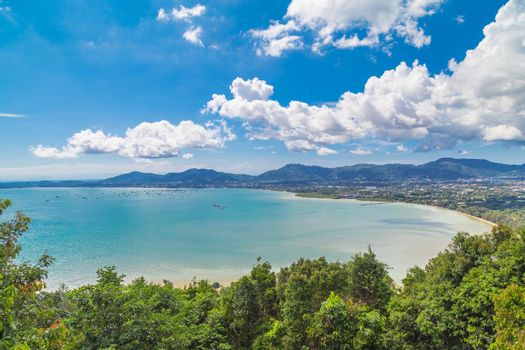 View of phuket beach on khao rang view point.