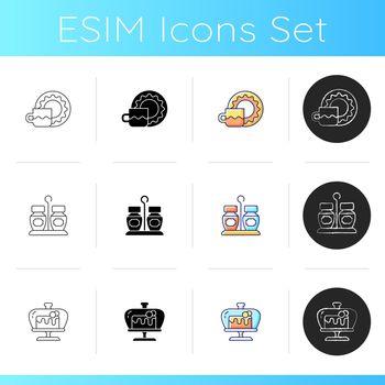 Trendy tableware icons set