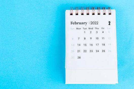February calendar 2022 on blue.