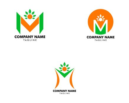 Set of Initial Letter M Logo With People and Leaf Shape, Initial Letter M For Health Care Logo Template