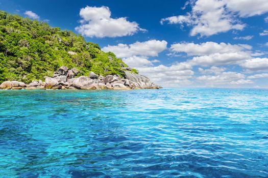 Turquoise water of Andaman Sea at Similan Islands, Khao Lak, Thailand,
