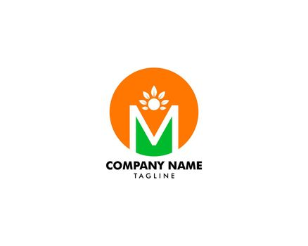 Initial Letter M Logo With People and Leaf Shape, Initial Letter M For Health Care Logo Template