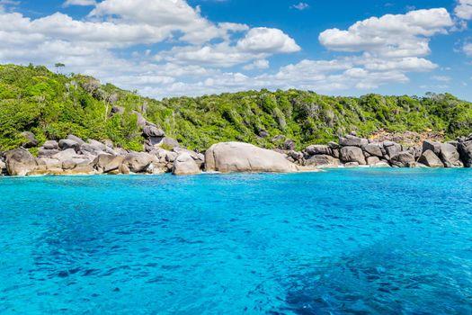 Turquoise water of Andaman Sea at Similan Islands, Thailand,