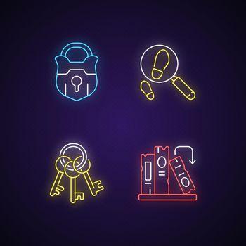 Solving mystery neon light icons set
