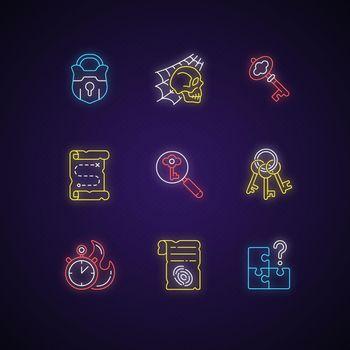 Quest neon light icons set