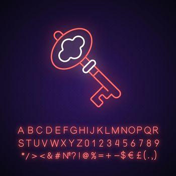 Key neon light icon
