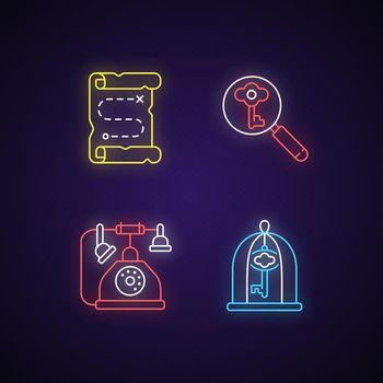 Solving quest neon light icons set