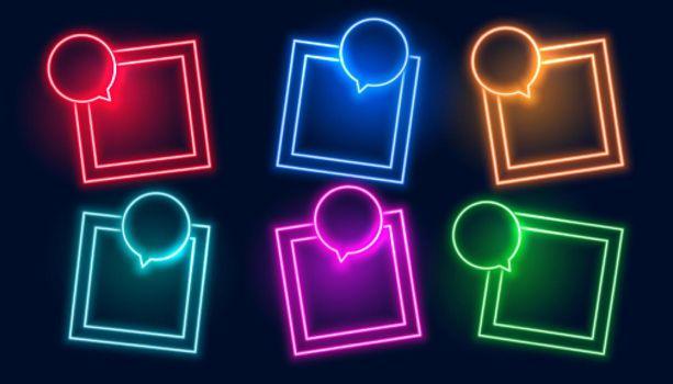 chat bubble style neon frames set