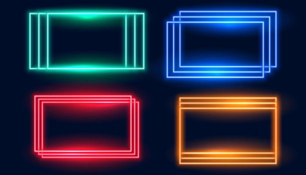rectangle neon frames set in four colors