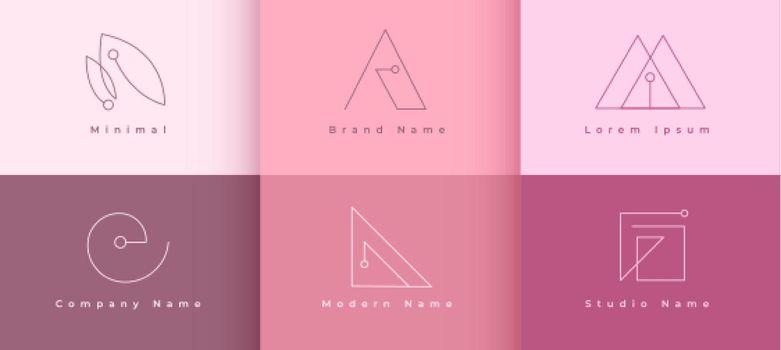 minimal line logos concept set