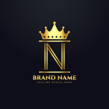 luxury brand logo for letter N with crown