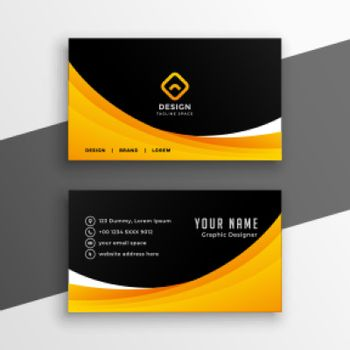 yellow black wavy business card template