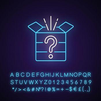 Mystery box neon light icon