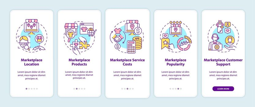 Marketplace choice parameters onboarding mobile app page screen