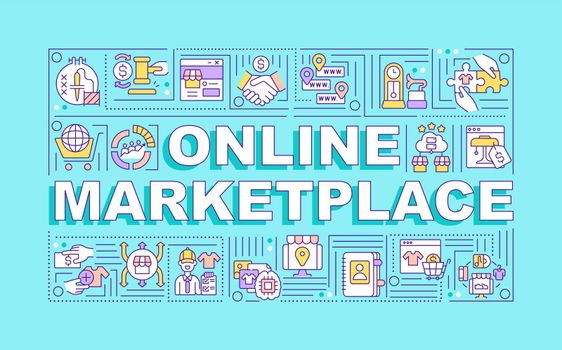 Online marketplace word concepts banner