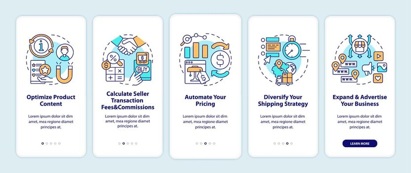 Online marketplace success tips onboarding mobile app page screen