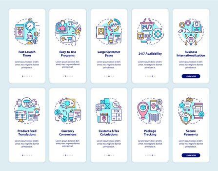 Online marketplace onboarding mobile app page screens set
