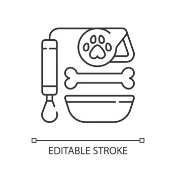 Pet lead and food linear icon
