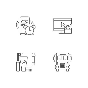 Student everyday routine linear icons set