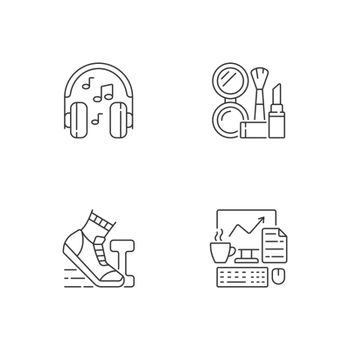 Everyday office worker routine linear icons set