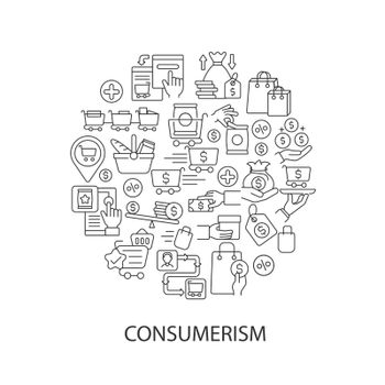 Consumerism abstract linear concept layout with headline
