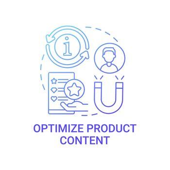 Optimize product content concept icon