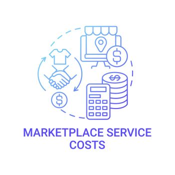 Marketplace service costs concept icon