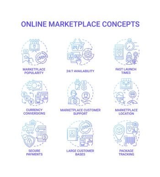 Online marketplace concept icons set