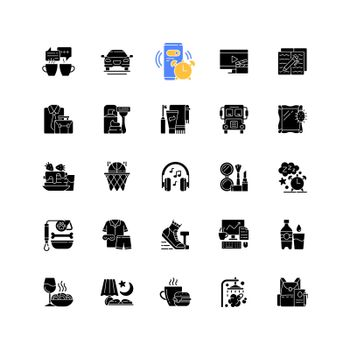 Everyday routine black glyph icons set on white space