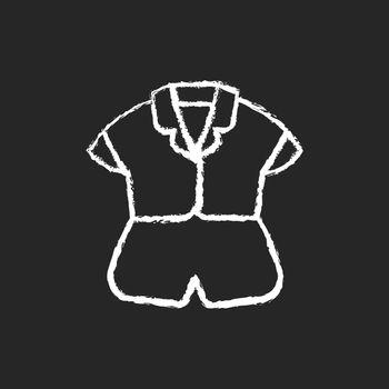 Silk top and shorts chalk white icon on dark background