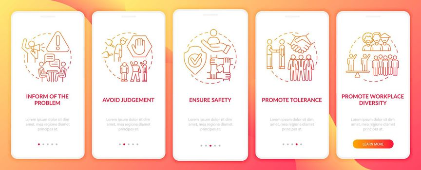 Discrimination at work onboarding mobile app page screen