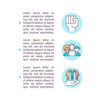 Human rights and self determination concept line icons with text
