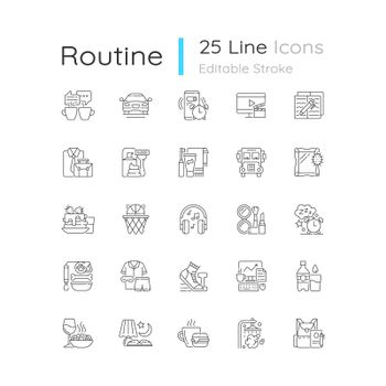 Everyday routine linear icons set