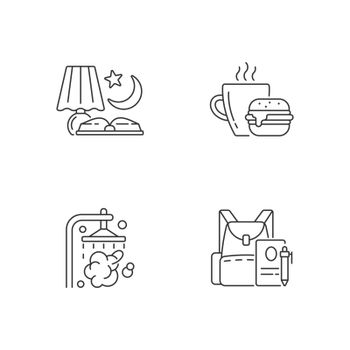 Everyday schedule and routine linear icons set