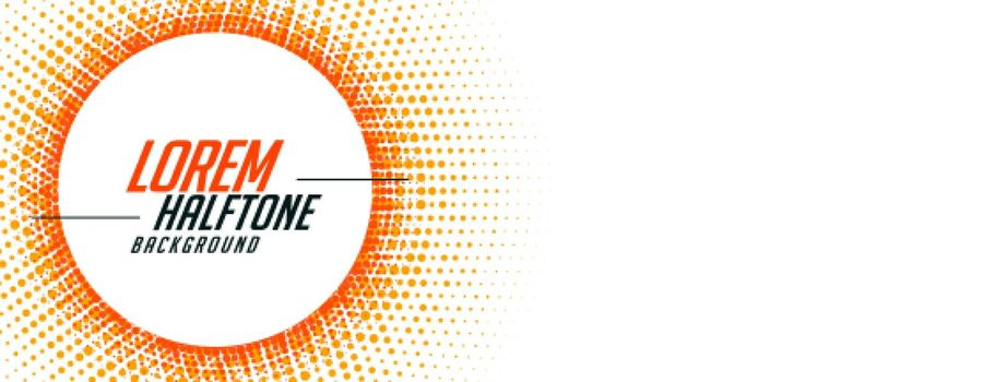 abstract halftone banner in orange circular style